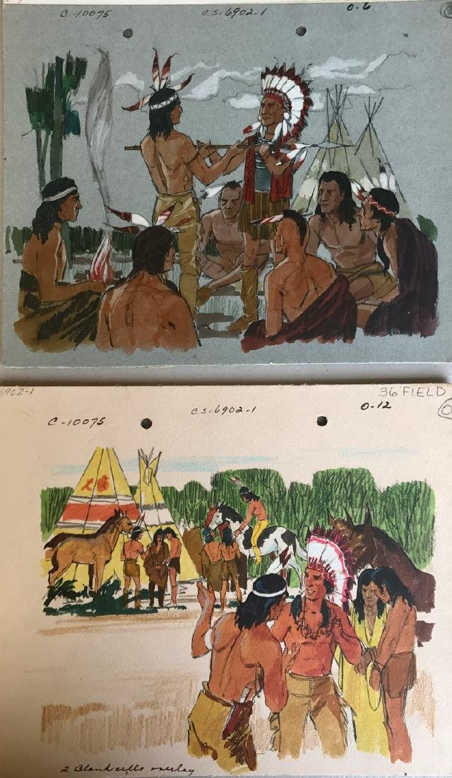 (5) Native American Original Book Illustrations, 1950's - 8