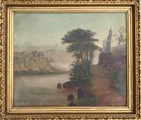 19th C Continental School River Landscape Oil Painting