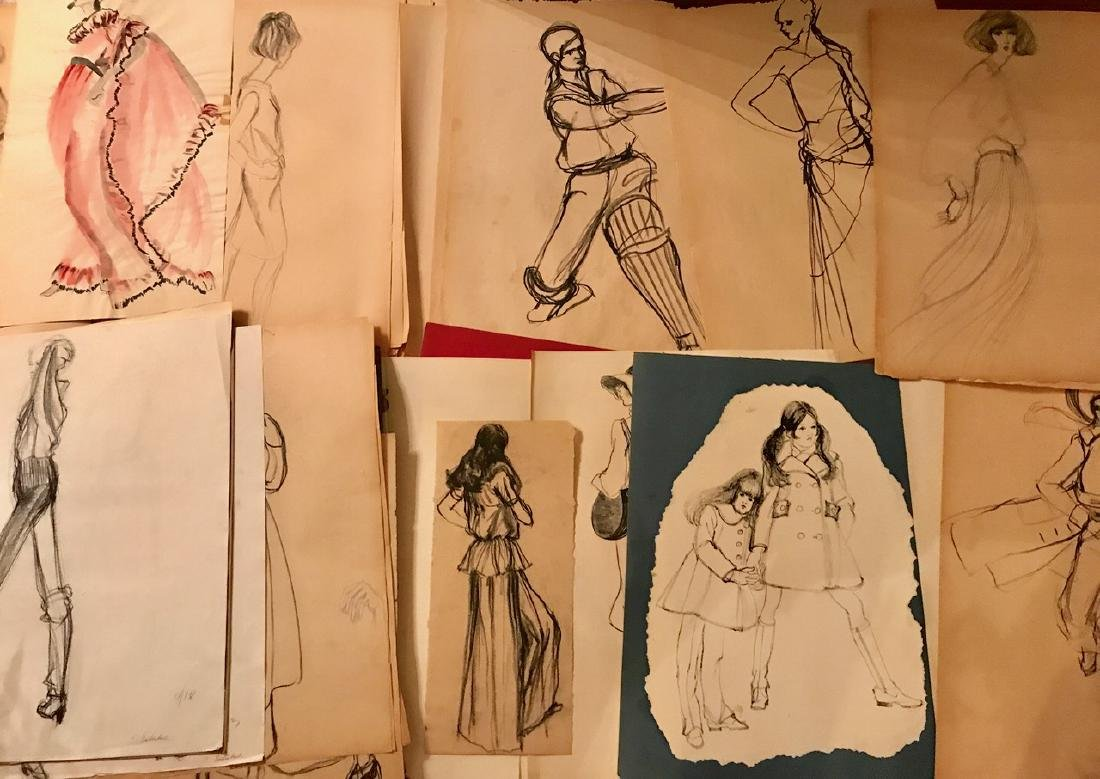 Collection of Original Fashion Design Drawings (150+)