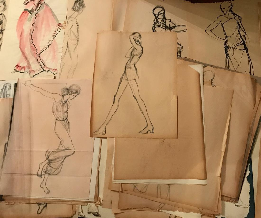Collection of Original Fashion Design Drawings (150+) - 5
