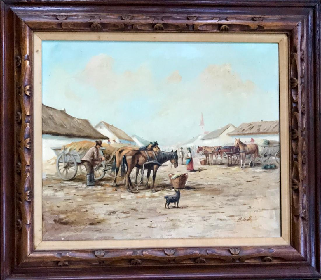 Continental School Painting, Horse Market Square, Miler