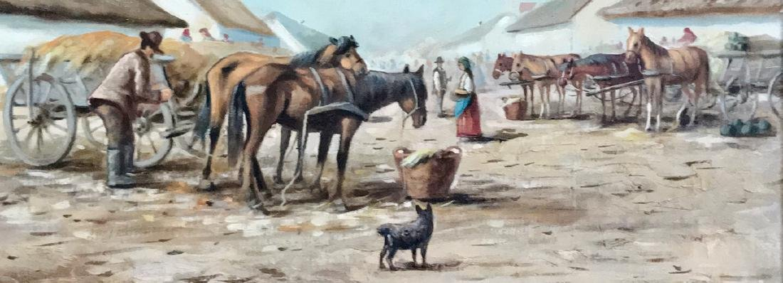 Continental School Painting, Horse Market Square, Miler - 3