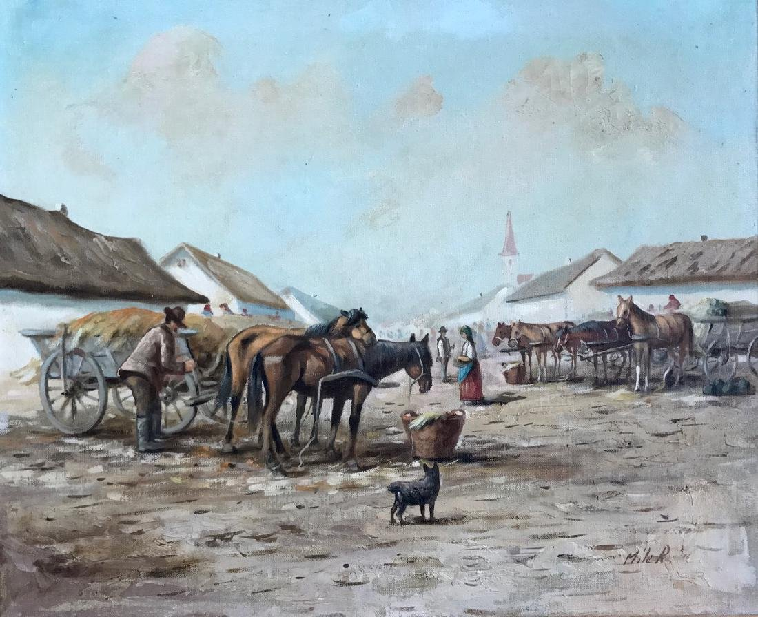 Continental School Painting, Horse Market Square, Miler - 4