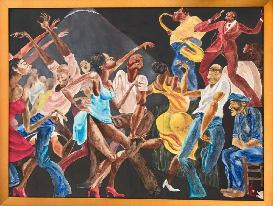 african american oil painting, ernie barnes (after)