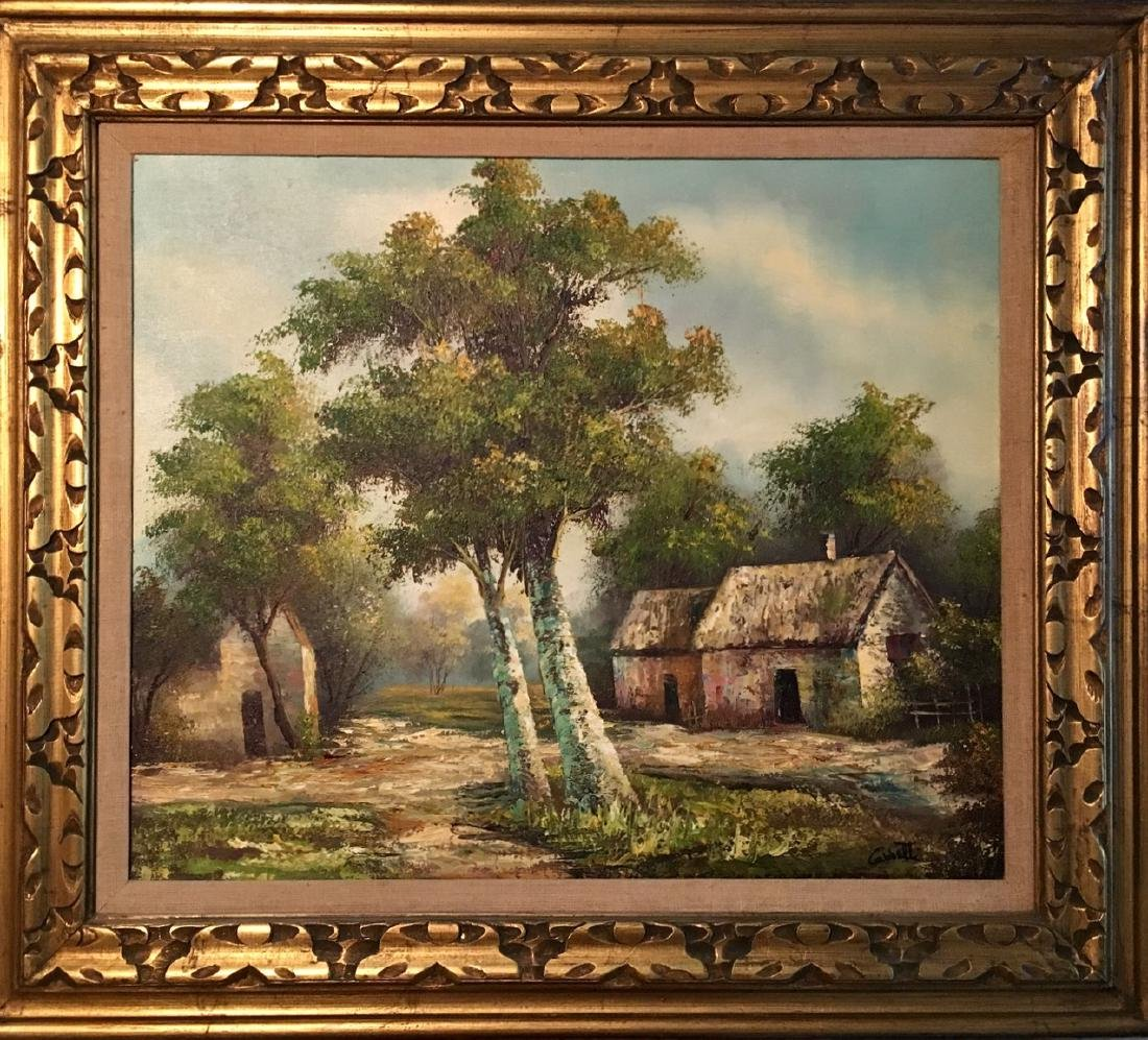 Homestead Landscape Oil Painting, Cabetti 1960's