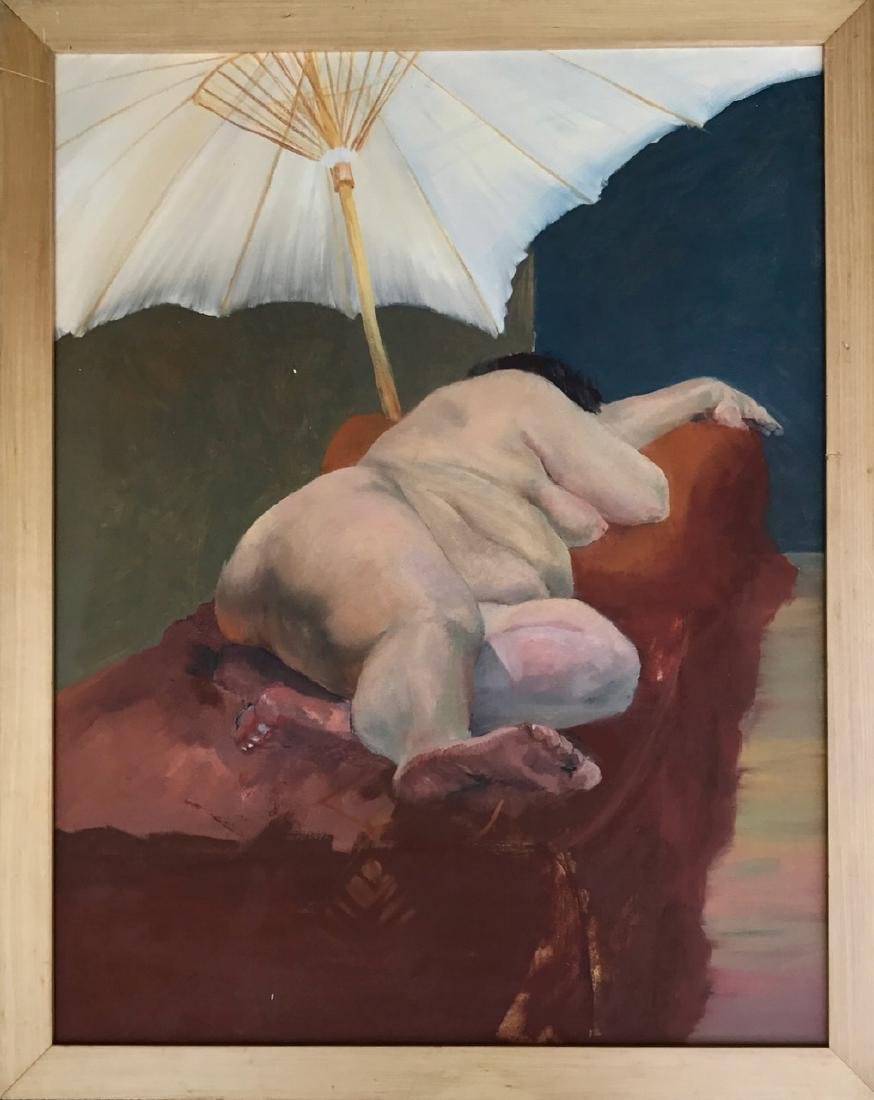 American School Painting, Reclining Nude Under Umbrella