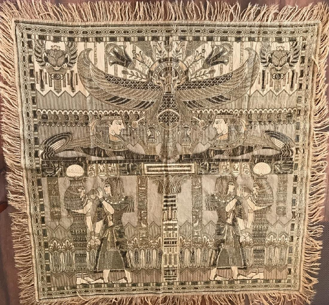 """Egyptian Revival Silk Embroidered Textile, 54"""" x 54"""""""