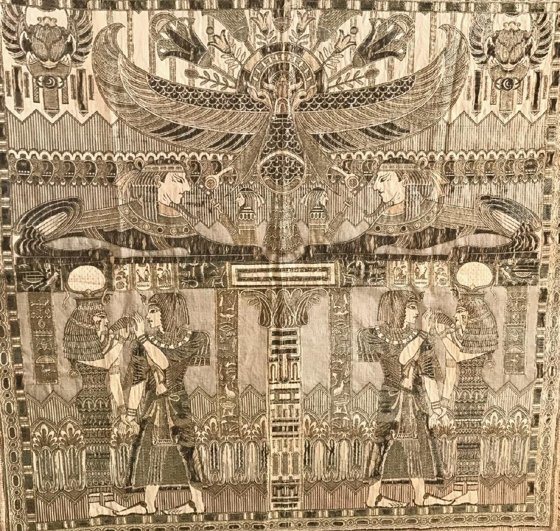 """Egyptian Revival Silk Embroidered Textile, 54"""" x 54"""" - 2"""