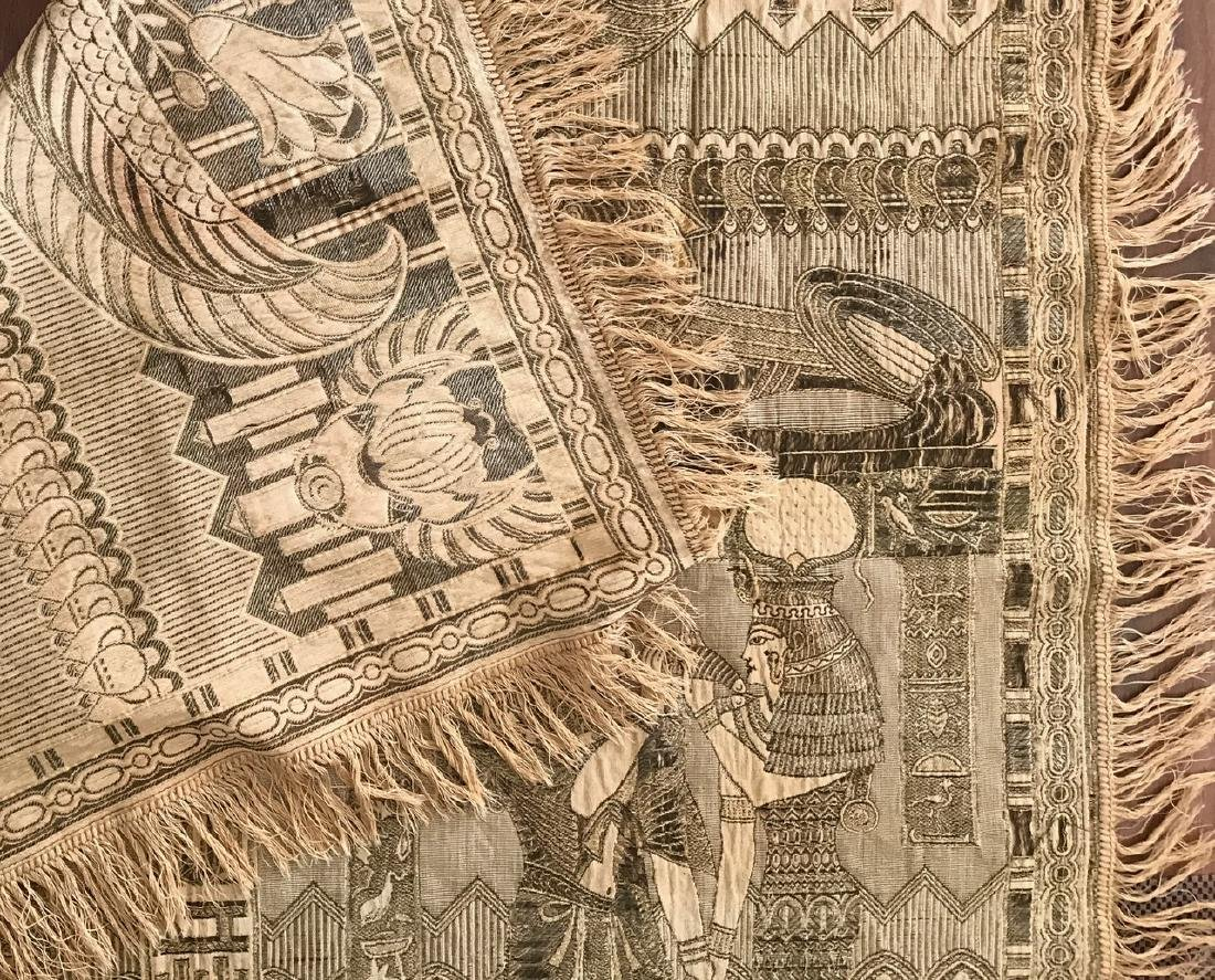 """Egyptian Revival Silk Embroidered Textile, 54"""" x 54"""" - 3"""