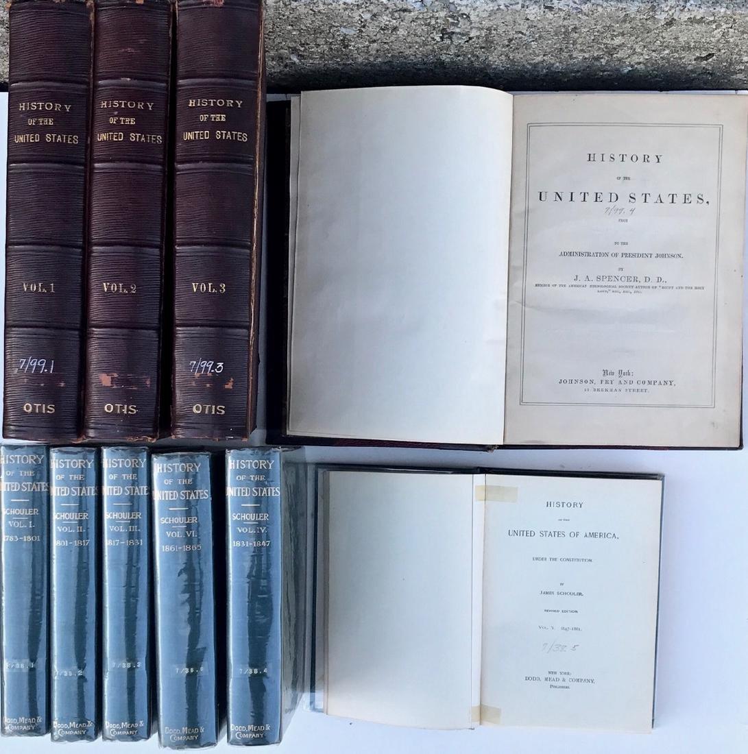 (10) Antiquarian Books, J.Spencer 1858, Schouler 1899 - 2