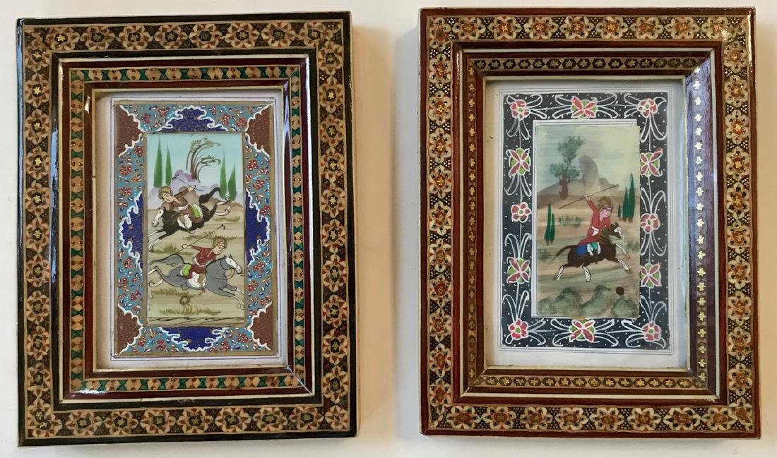 Pair of Miniature Persian Paintings, Polo Players