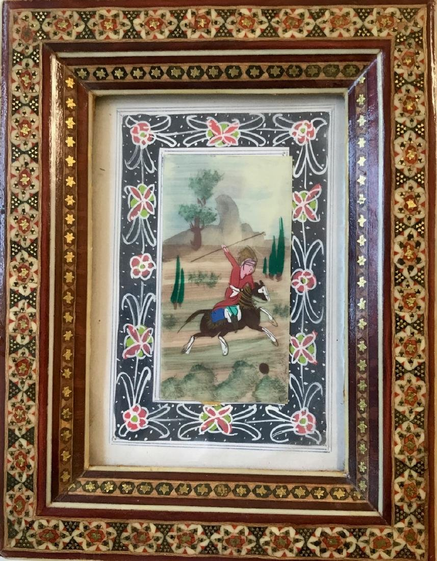 Pair of Miniature Persian Paintings, Polo Players - 2