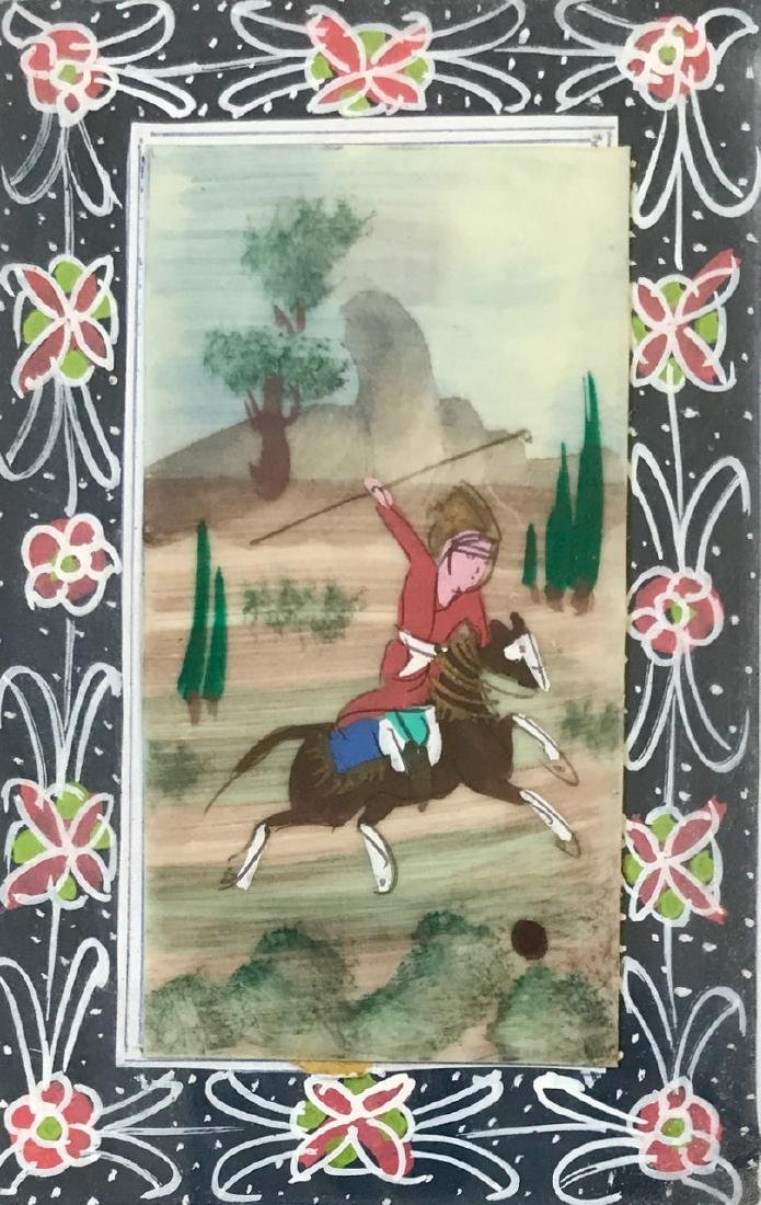 Pair of Miniature Persian Paintings, Polo Players - 5