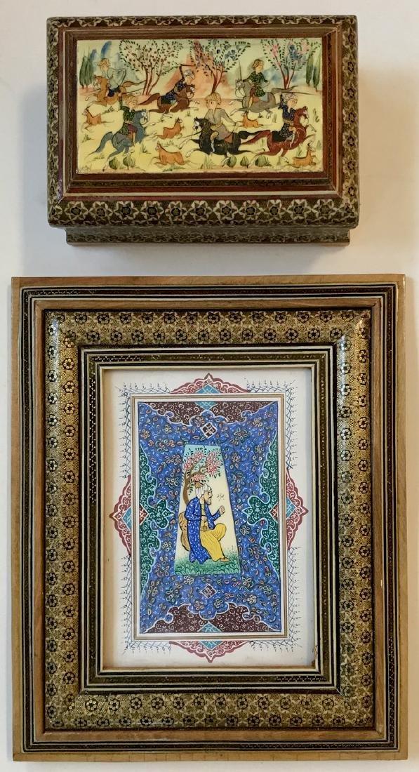 Two Persian Miniature Paintings, Hunting & Scholar Box