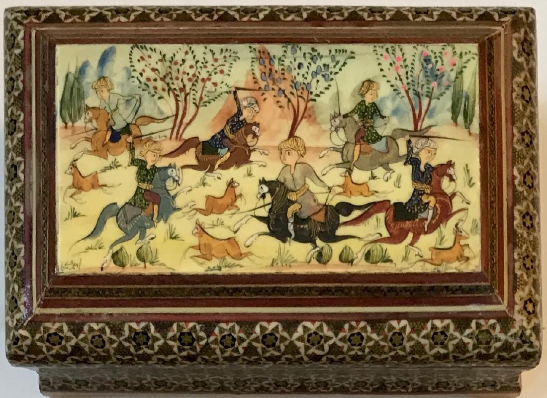 Two Persian Miniature Paintings, Hunting & Scholar Box - 2