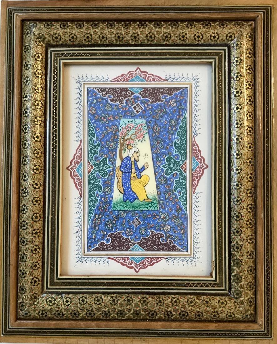 Two Persian Miniature Paintings, Hunting & Scholar Box - 3