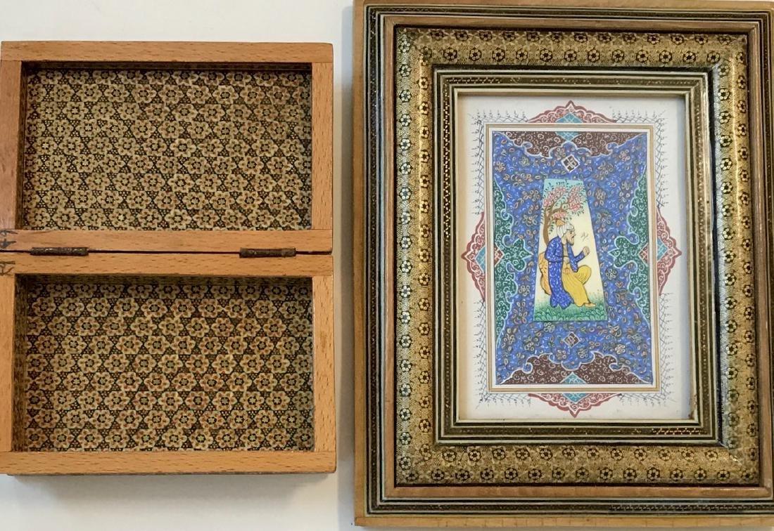 Two Persian Miniature Paintings, Hunting & Scholar Box - 4