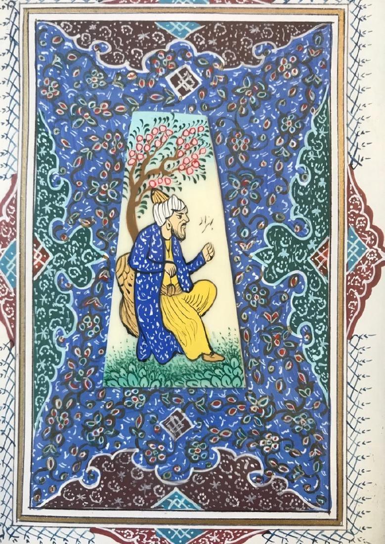 Two Persian Miniature Paintings, Hunting & Scholar Box - 5
