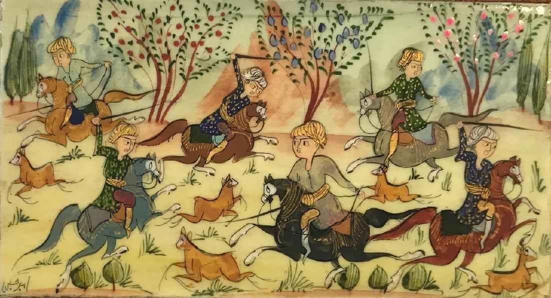 Two Persian Miniature Paintings, Hunting & Scholar Box - 6