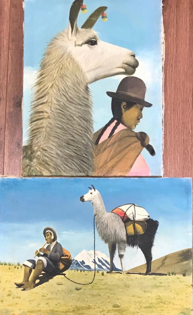 Peruvian Paintings With Natives & Llamas In The Andes