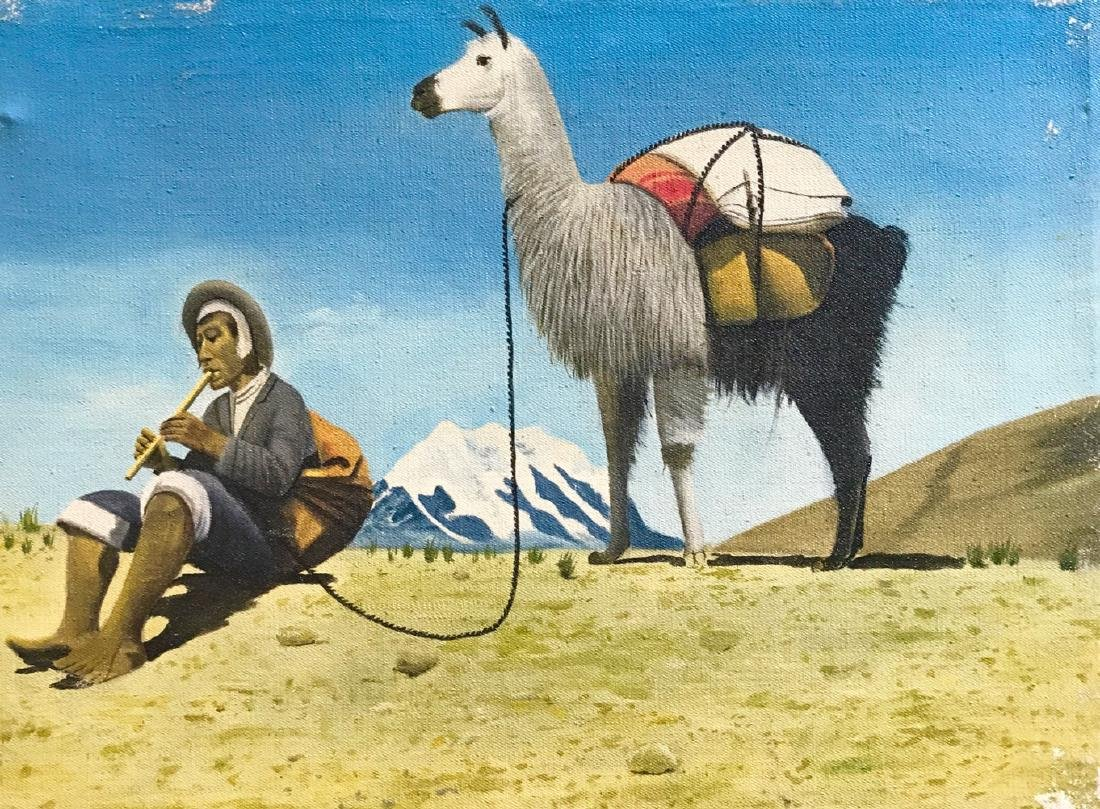 Peruvian Paintings With Natives & Llamas In The Andes - 2