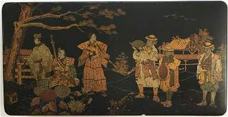 "Antique Chinoiserie Lacquer Box With Samurai 11""lgt."