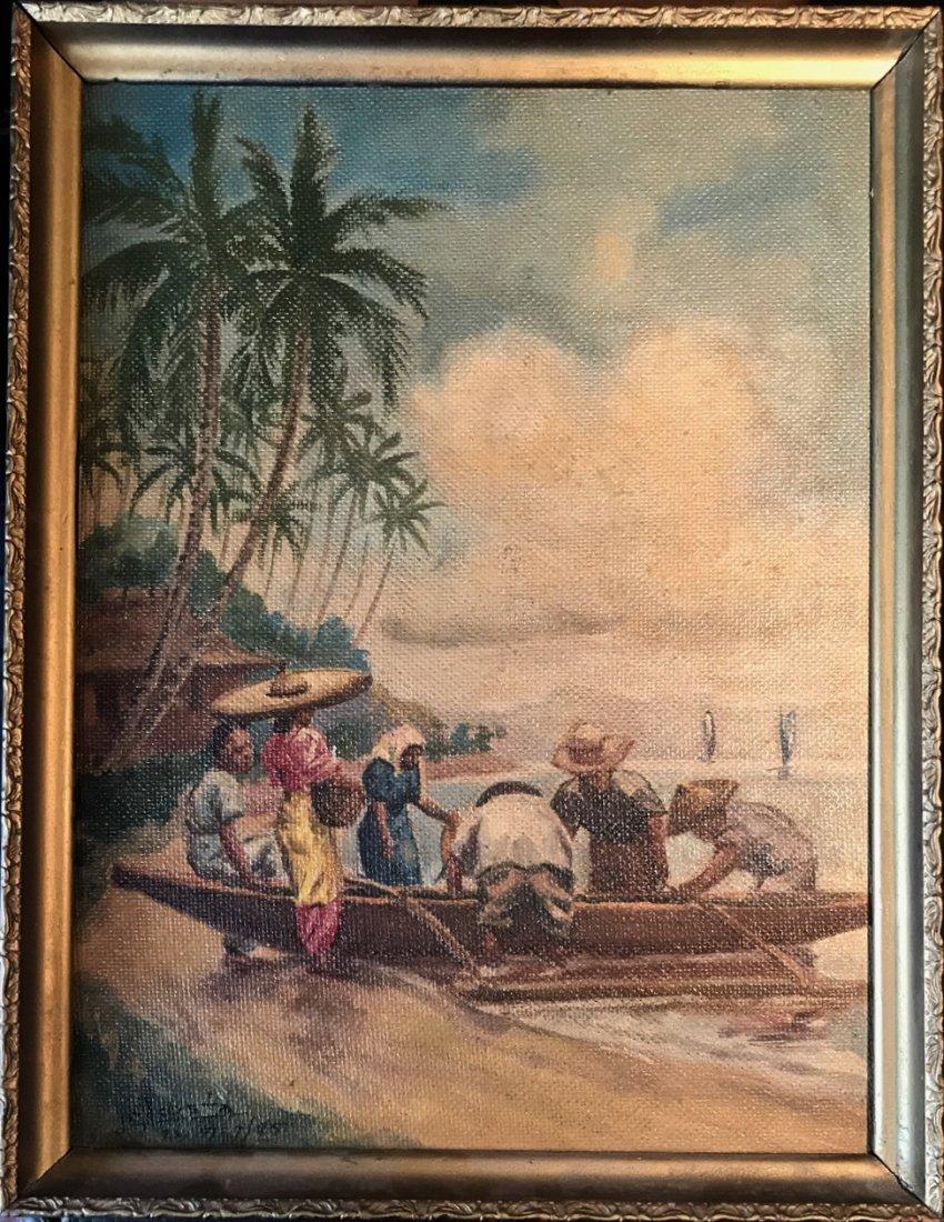 J.C.Acosta Oil Painting, Philippine Islands, 1945