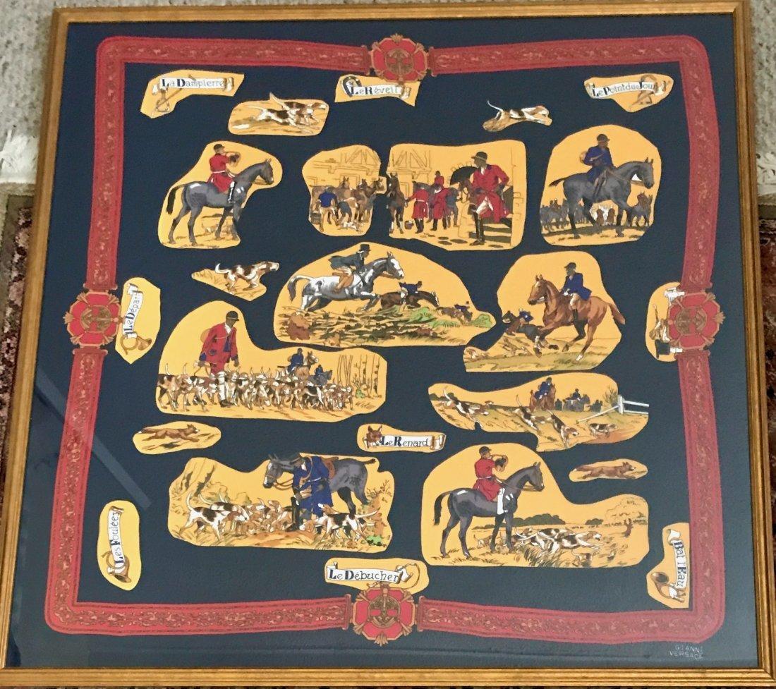Gianni Versace Silk Equestrian Hunting Scarf
