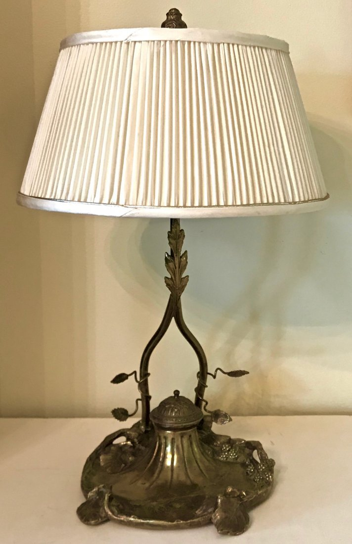 Art Nouveau Bronze Lamp With Inkwell, A. Marionnet