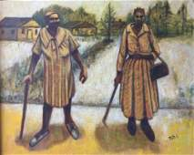 """African American Oil Painting """"Cotton Field"""" Ruth C."""