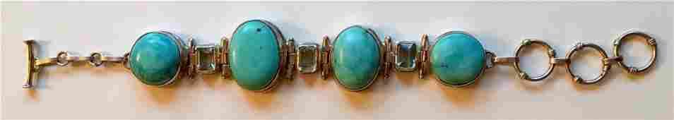 Sterling Silver Turquoise  Gemstone Bracelet