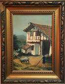 Continental School Barnyard Landscape Painting, Signed