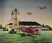 Aeronautical Folk Painting Air Terminal Carson