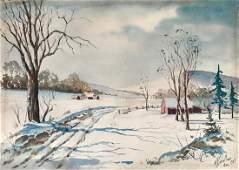 American Winter Snow Painting, H. Schaller 1957