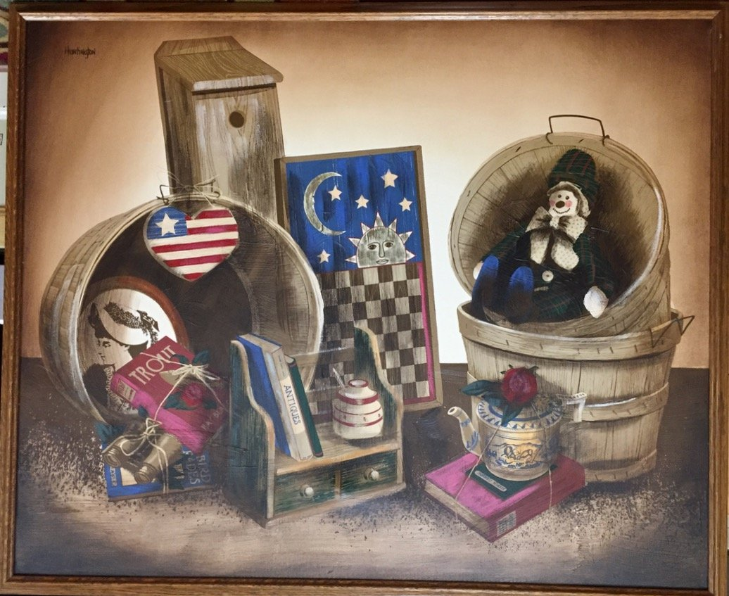 American Folk Art Oil Painting, H. Huntington