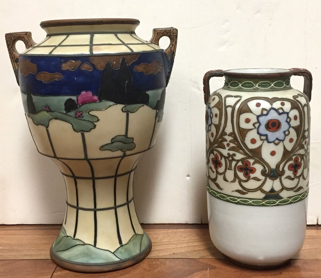 Nippon Hand Painted & Moriage Porcelain Vases (2)