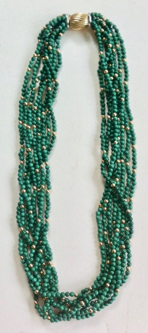 Multi Strand Malachite Bead Necklace With Gold
