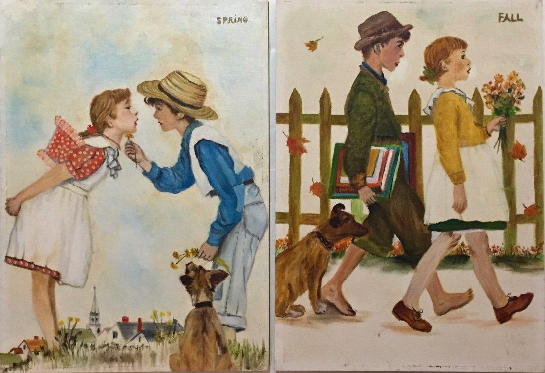 "(2) Children's Illustration Paintings ""Fall"" & ""Spring"""