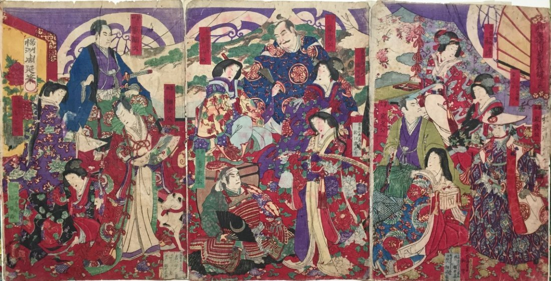 Japanese Woodblock Triptych, 19th Century