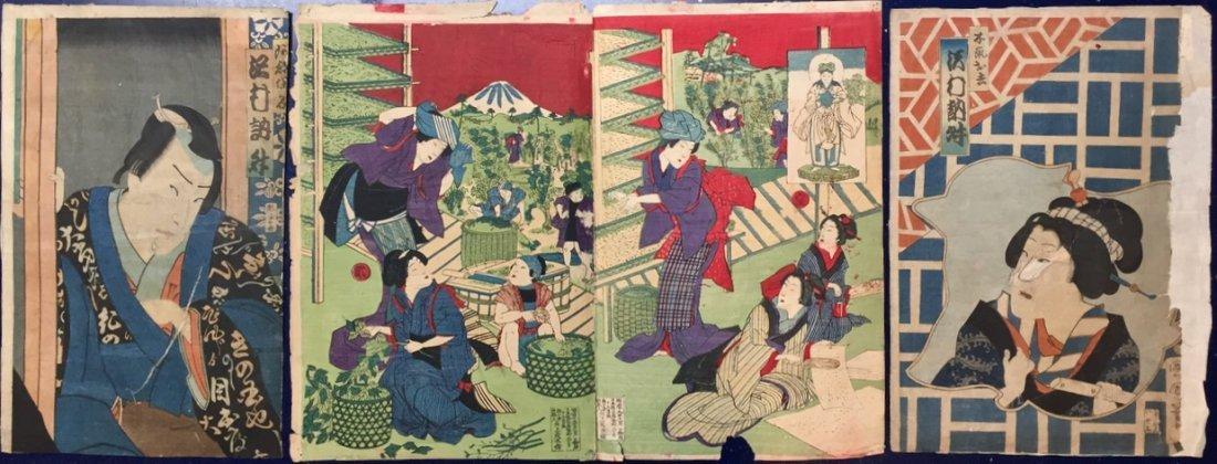 19th c. Japanese Woodblocks, Diptych & 2 Kabuki Actors