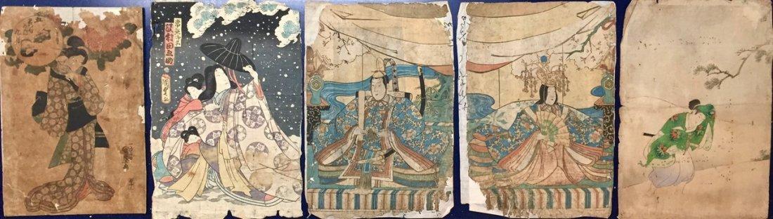 Five Original Japanese Woodblock Prints 19th C.
