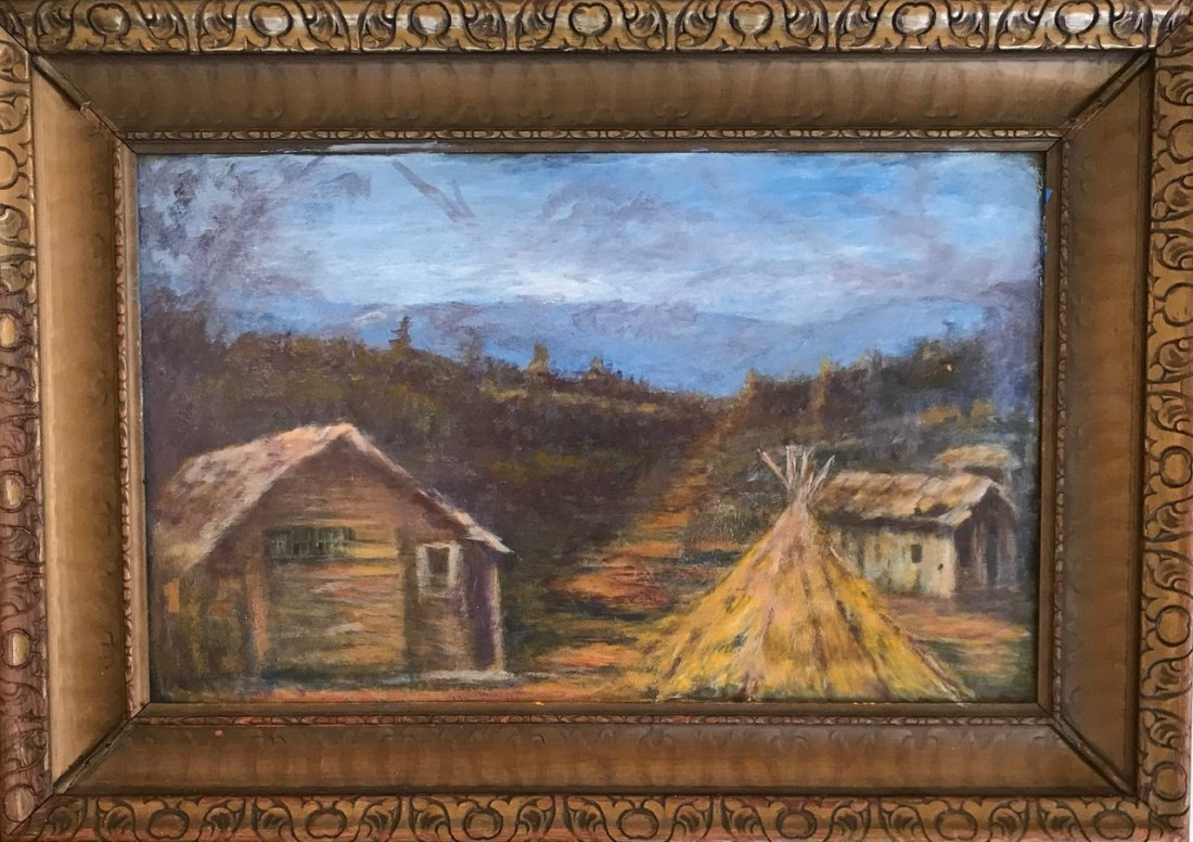American Western Landscape Campsite Oil Painting 1950's