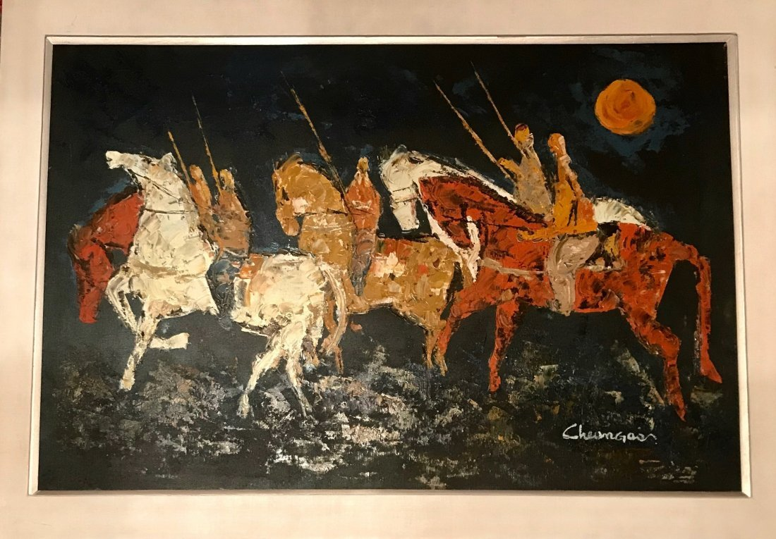 "Native American Painting ""Acadian Indians"" Signed"