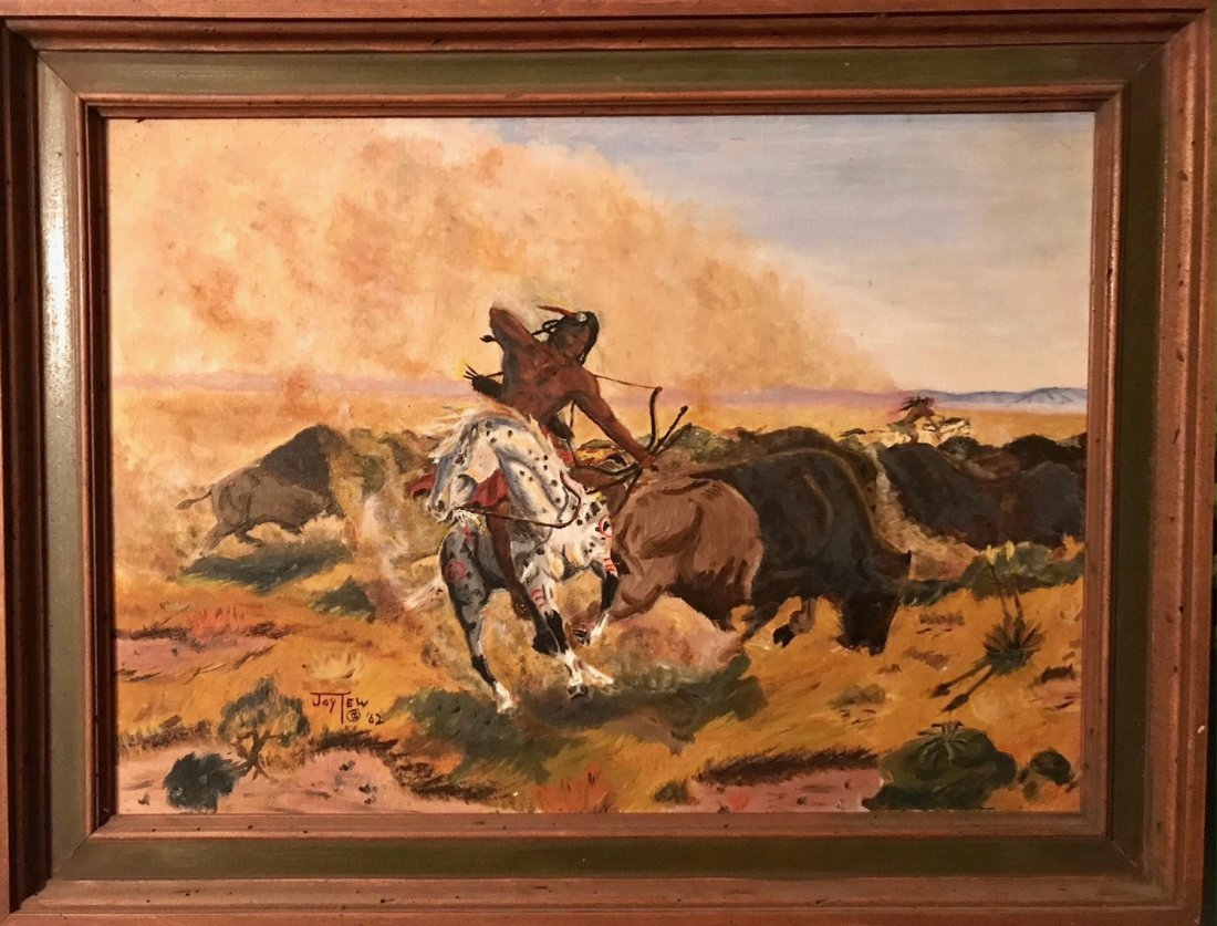 American Indian Painting, Buffalo Hunter, Joy Tew 1962