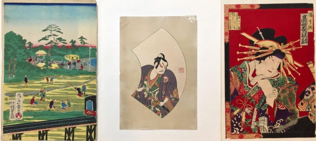 Three Original Japanese Woodblocks, Kabuki & Landscape