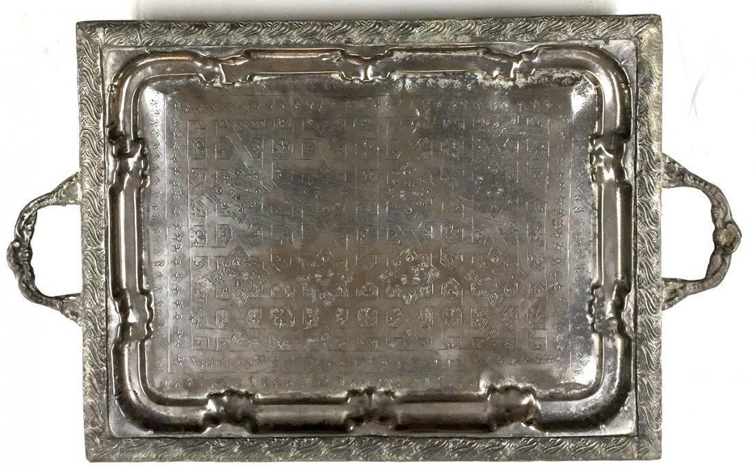 Moroccan Silver Tray With Arabic Designs & Hallmark