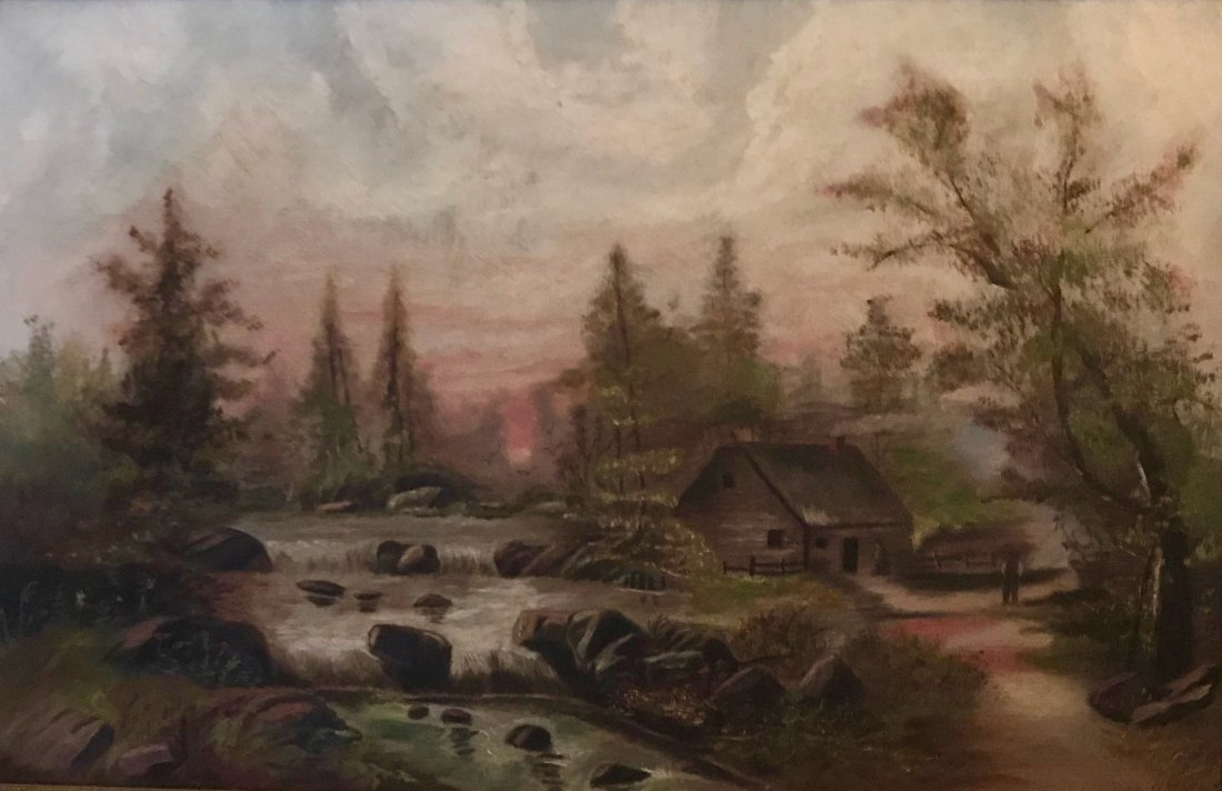 19th c. American Homestead Landscape Painting, L.G.