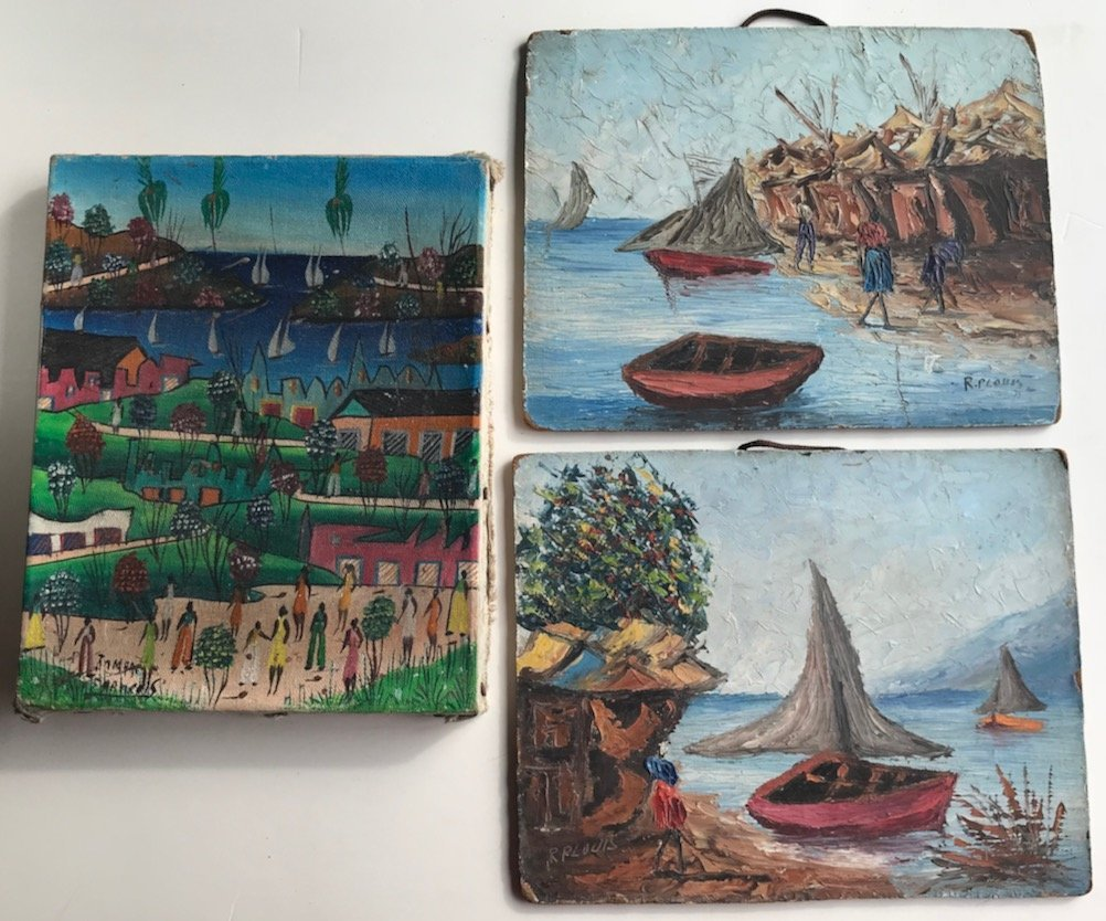 (3) Haitian Folk Art Oil Paintings, Signed