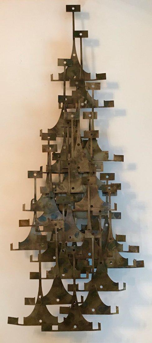 Abstract Bronzed Steel Wall Sculpture, J. Stillman 1960