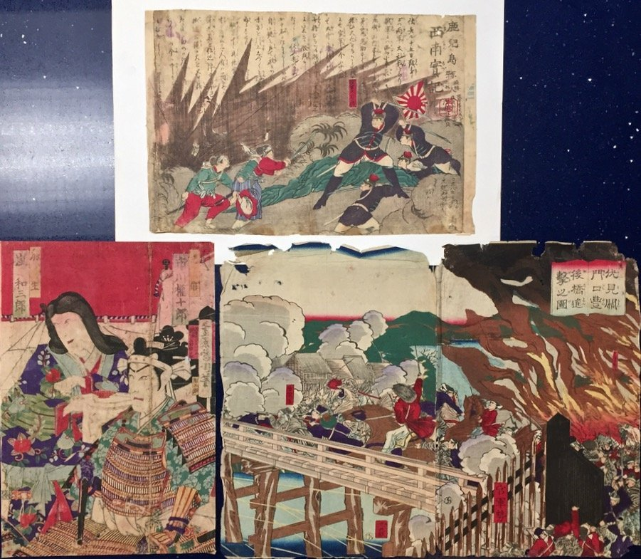 Japanese Diptych & Woodblocks, Battles & Samurai,19th C